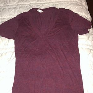 American Apparel maroon deep v neck tee shirt. XS